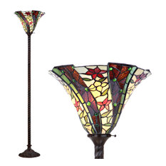 """Williams Tiffany-Style 71"""" Torchiere Floor Lamp, Bronze"""
