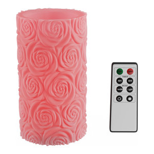 Lavish Home LED Candle With Remote Control Rose Design 1 Candle