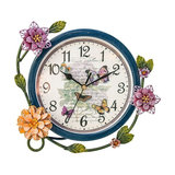 Contemporary French Circular Metal Clock With Flowers