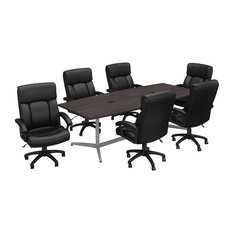 96W Boat Shaped Conference Table With Chairs In Storm Gray - Engineered Wood