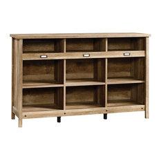 Craftsman Bookcase, Solid Wood, 9 Open Shelves, Oak Finish