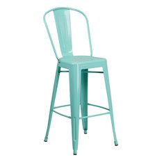 "30"" High Mint Green Metal Indoor Outdoor Barstool With Back"