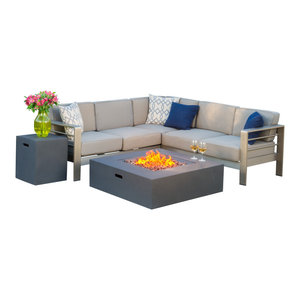 GDF Studio Crested Bay Outdoor Aluminum Sofa Set With Fire Table, Dark Gray
