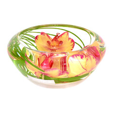 Glass Flower Bowl, Yellow and Fuchsia Phalaenopsis, Small