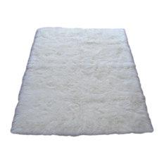 Walk On Me   Snowy White Polar Bear Rectangle   White Sheepskin Faux Fur Rug  (