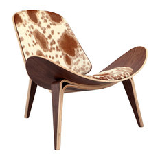 Tripod Plywood Lounge Chair, Genuine Cowhide With Walnut Base, Brown/White