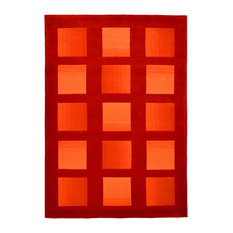 Casablanca Orange Squares Floor Rug, 240x170 cm
