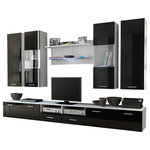 Maxima House - Dream II TV Set, White/Black - DREAM II Entertainment Center will give you enough storage and decorative space with a combination of 8 pieces:  Four hanging wall cabinets, a wall shelf that accentuates the modern look that the DREAM offers, 3 floor standing cabinets that combined into a large TV Stand.