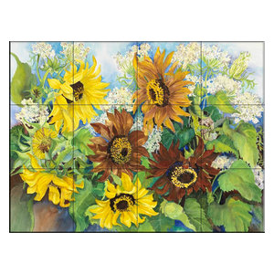 Tile Mural, Queen Anne Lace And Sunflowers by Joanne Porter