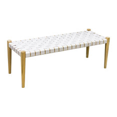 Midte Handwoven Leather Bench, White