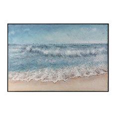 "Oversize 60"" Coastal Wave Wall Art, Painting Beach Landscape Ocean"