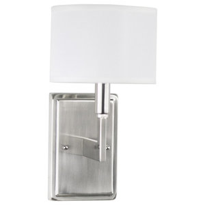 Astounding Brushed Nickel 1 Light Wall Sconce Plug In Or Hard Wire Wiring Digital Resources Antuskbiperorg