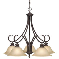 Lancaster 5-Light Nook Chandelier, Rubbed Bronze With Antique Marbled Glass