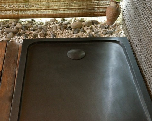 Receveur de douche en pierre 120X80 granit noir : PALAOS SHADOW