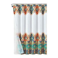 Bohemian Meadow 14-Piece Shower Curtain Complete Set, Orange