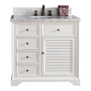 "Savannah 36"" Cottage White Single Vanity 2CM Carrara White Marble Top"