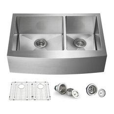"KIBI Handcrafted Farmhouse Apron Double Bowl Stainless Steel Kitchen Sink, 33"""