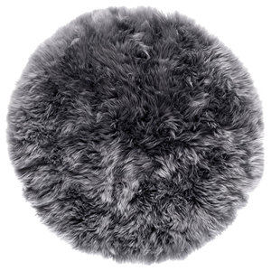 Round New Zealand Sheepskin Rug, 70 cm, Grey