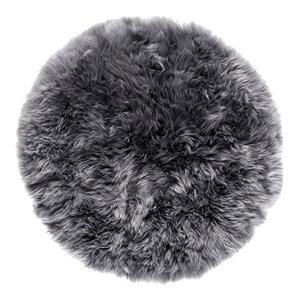 Round New Zealand Sheepskin Rug, 70 cm, Grey