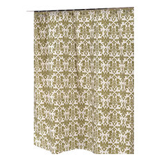 """""""Damask"""" Fabric Shower Curtain in Sage/Ivory"""