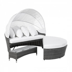 Sylt Lux Grey Rattan Garden Day Bed and Table Set