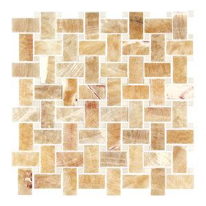Honey Onyx, Thassos White Marble Polished Premium Basketweave Mosaic Tile
