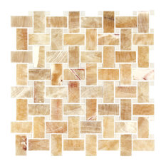 Honey Onyx, Thassos White Marble Polished Premium Basketweave Mosaic Tile