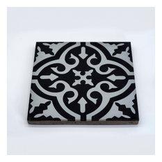 """8""""x8"""" Argana Handmade Cement Tile, Black/Gray, Set of 12"""