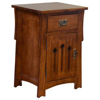 Mission Style Solid Quarter Sawn Oak Keyhole Nightstand, Model A26
