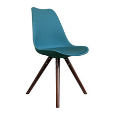 - Scandi Style Dining Chair, Pyramid Walnut Legs, Teal - Dining Chairs