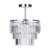 Vasca Crystal Bar 3 Light Chandelier Semi Flush, Chrome