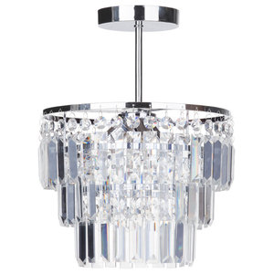 Vasca Crystal Bar 3 Light Chandelier Semi Flush, Chrome