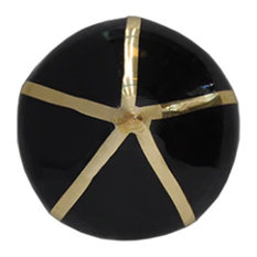 Worlds Away Miranda Pointed Brass Knob with Color Detail, Black and Brass