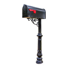 Steel Mailbox Post With Corinthian Cast Base and Decorative Bracket