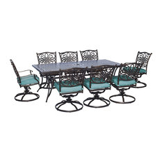 Traditions 9-Piece Swivel Dining Set in Blue