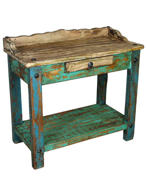 painted wood telephone table plant stands and tables image rustic mexican furniture