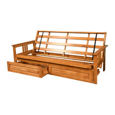 Caleb Frame Futon With Butternut Finish, Storage Drawers, Frame Only