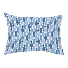 """Wavy 14""""x20"""" Decorative Abstract Outdoor Throw Pillow, Blue"""