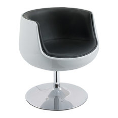 Corliving Mod Leather Swivel Barrel Chair, Black and White