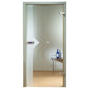 "Modern Swinging Glass Door/Transparent Design, 30""x80"", Right"