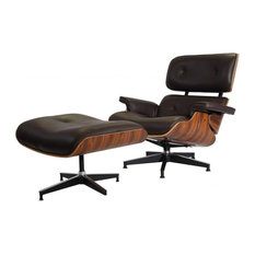 2-Piece Mid-Century Plywood Lounge Chair and Ottoman Set, Dark Brown, Palisander