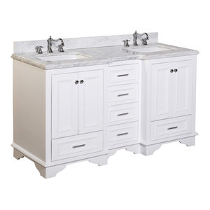 "Nantucket 60"" Bath Vanity, Base: White, Top: Carrara Marble, Double Vanity"