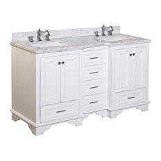 "Nantucket 60"" Bath Vanity, Base: White, Top: Carrara Marble, Double Vanity"