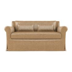 Ludlow 5' Leather Sofa Marzipan Extra Deep