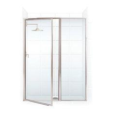 """Legend Framed Hinge Swing Shower Door, Inline Panel, Brushed Nickel, 41""""x66"""""""
