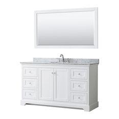 Avery 60-inch Single Bathroom Vanity In White Carrera Marble Top Oval Sink