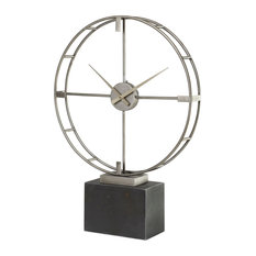 Janya Contemporary Silver Champagne Open Face Tabletop Clock