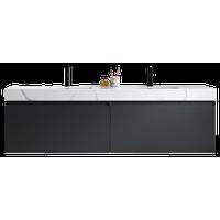 "Manarola 72"" Dark Gray with Thick Quartz Wall Mount Modern Bathroom Vanity"