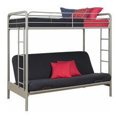 Twin-Over-Futon Convertible Couch/Bed in Fabric With Metal Frame/Ladder, Silver