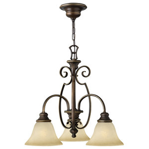 Cello Antique Bronze Chandelier, 3 Lights